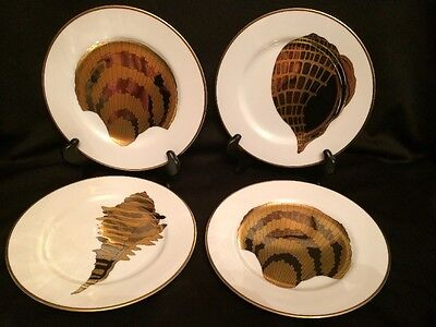 Vintage Fitz and Floyd Coquille d'or Set of 4 Metallic Shell Plates  Size 7.5""