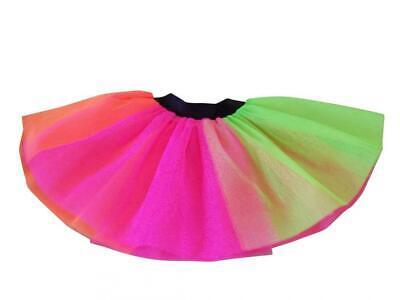 CHILDREN'S NEON  RAINBOW TUTU SKIRT 80s FANCY DRESS DANCE SHOW BIRTHDAY - Children's 80's Kostüm