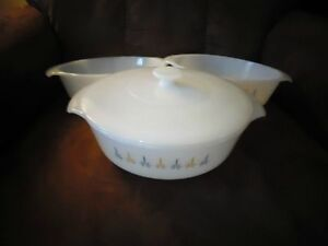 Trio of Anchor Hocking Fire King Ceramic Casserole Dishes