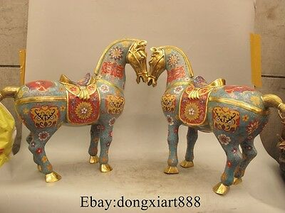 "17"" Old China Cloisonne Enamel Gilt Tang Zodiac Year Horses Animal Statue Pair"