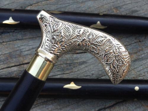 Antique+Style+Victorian+Cane+Wooden+Walking+Stick+Vintage+Solid+Brass+Handle