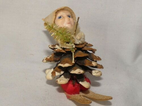 Vintage Christmas Pinecone Ski Elf Gnome Chenille with Brush Tree Japan