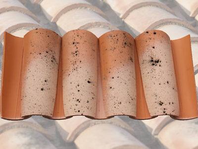 Dachziegel Halbschale aus Ton, 12 Stk / 1 lfm, Tonziegel, Ziegel, Altkastilien
