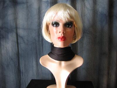 Gummimaske MARILYN +WIMPERN+PERÜCKE Hell-BLOND Latex Maske Frau Crossdresser