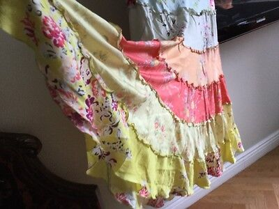 Johnny Was Ladies Silk Skirt Long Tiered Floral Festival Boho Size L