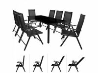 **FREE & FAST UK DELIVERY** Elegant 8-Seat Black Aluminium Garden Bistro Dining Table Set
