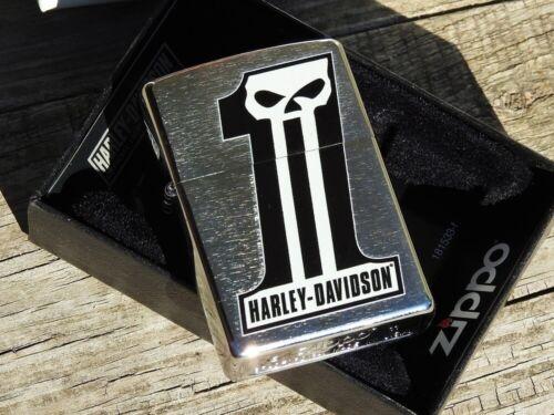 Zippo Lighter - Harley Davidson Dark Custom Logo - Willie G - # 1 Skull - 28228