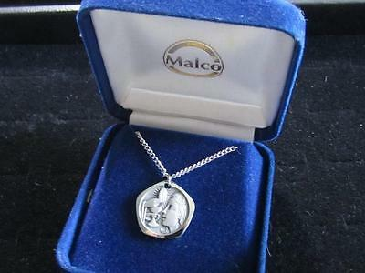Vintage Silver Tn Malco Made In France Religious Bread Wine Pendant Necklace D47