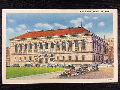 For sale Public Library Boston, Massachusetts 700 Boylston Street Linen Postcard Unused