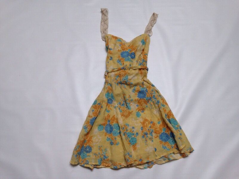 Free People Yellow Blue Floral Tie Ruffle Sun Dress Small