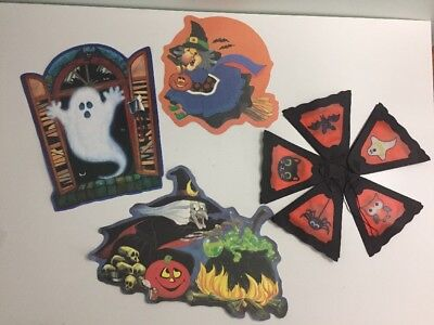 Vintage 80s 90s Die Cut Halloween Lot and Lantern Witch Ghost Party JOL Decor ](80's Halloween Party Decorations)