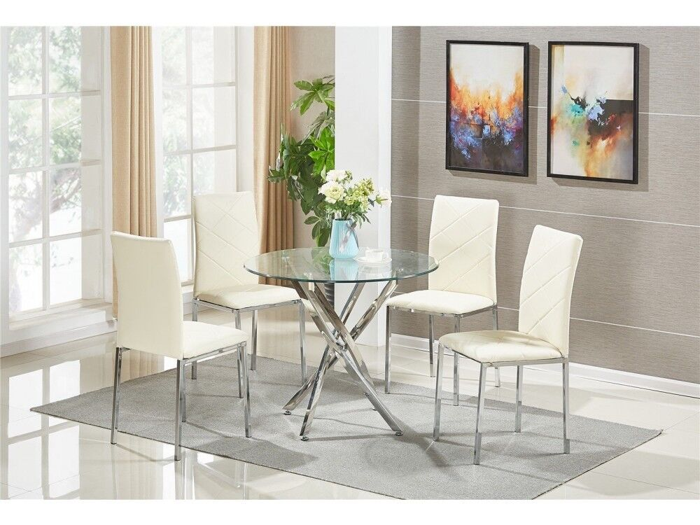 FAST FREE UK DELIVERY Modern Square Glass Dining Room Table Set With 4 Faux Leather Chairs