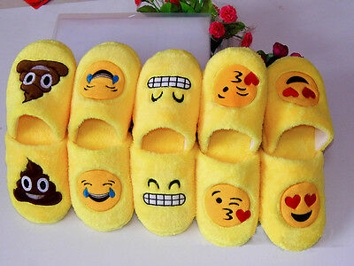 Unisex Emoji Cute Cartoon Slippers Warm Cozy Soft Stuffed Household Shoes  2