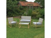 **FREE & FAST UK DELIVERY** 4-Piece Garden Cream & Grey Rattan Garden Chairs & Table Set