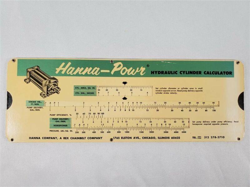 Hanna - Power Hydraulic Cylinder Calculator 1963 Slide Rule (Chicago, IL)