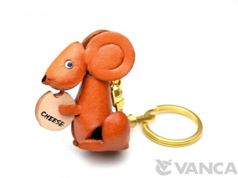 Mouse with Cheese Handmade 3D Leather (L) Keychain *VANCA* Made in Japan #56151