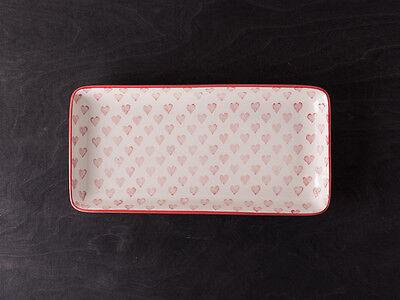 IB Laursen Tablett Herz creme weiß Rote Herzen weißes Keramik Teller Tablett ()