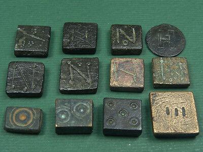 12 ANCIENT BRONZE WEIGHTS BYZANTINE 400-600 AD