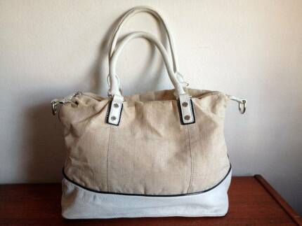 SPORTSCRAFT Leather   Linen White Taupe Navy Shoulder Tote Bag 7d93e82ed33be