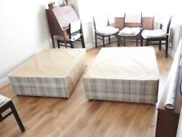 Small double bed and mattress.
