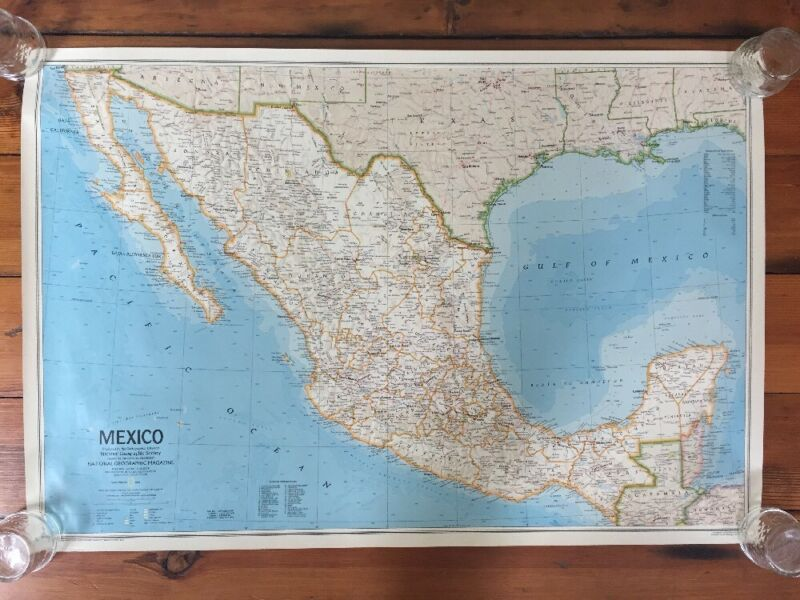 Vintage 1984 National Geographic Society Mexico Mexican Peninsula Map Poster