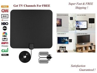 100 Miles Range Thin Flat Indoor Amplified Antenna Hd High Def Tv Fox Scout Hdtv