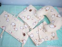 Nursery set ; curtains ,breast feeding pillow, 3 piece cot set
