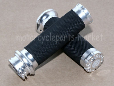 "Chrome Motorcycle RSD CNC Non-Slip 1"" 25MM Handle Bar Hand Grips For Harley USA"