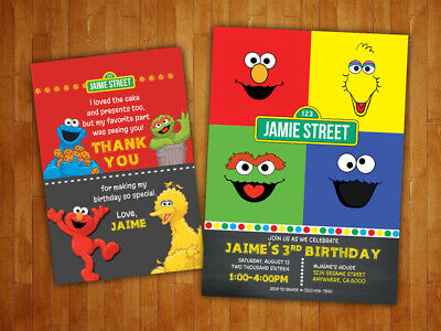 Sesame Street Invitations (Custom Sesame Street Birthday Party Invitations with FREE Thank You)