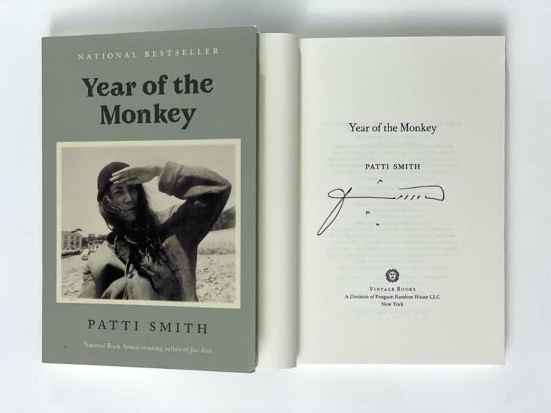 """PATTI SMITH SIGNED AUTOGRAPH """"YEAR OF THE MONKEY"""" BOOK - PUNK ROCK, HORSES, RARE"""