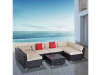 **FREE & FAST UK DELIVERY** Outsunny 7PC Dark Brown Rattan Modular Garden Sofa Set