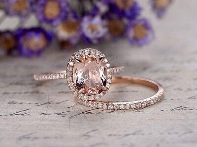 Engagement Wedding Bridal Ring Set 1.50 Ct Morganite & Diamond 14k Rose Gold Fn