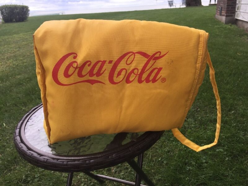 """COCA-COLA Insulated Nylon Bag vintage YELLOW with RED LETTERING 13""""x9""""x6"""" vtg"""