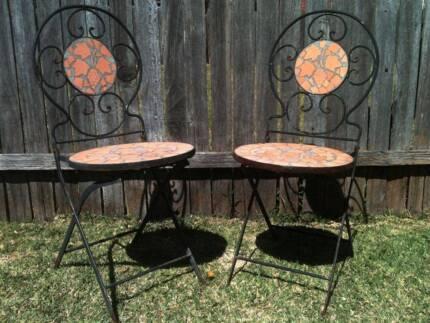 Pair Folding Wrought Iron Terracotta Mosaic Garden Patio Chairs