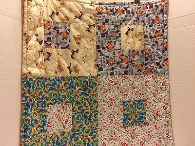 Handmade Quilt Dogs Bones Puppy Crib Stroller Buggy Wall Hanging  Blanket