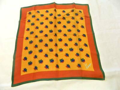 """Vintage Kenzo Scarf 100% Silk 21"""" Green Blue Bronze Colored Leaves Has 2 Small M"""