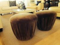 Two large upholstered stools