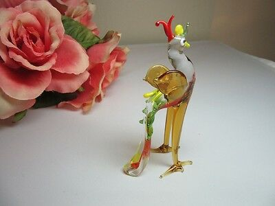 Vtg hand blown art glass mini figurine menagerie Rooster. Red, green,yellow