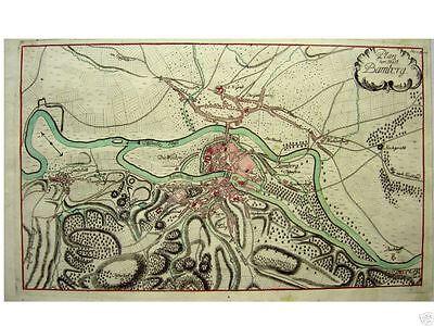 1 Orig altkolor. Kupferstich v Raspe 1763  BAMBERG PLAN