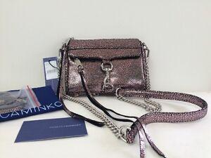 NWT-Rebecca-Minkoff-Micro-Mac-Clutch-Rose-Leather-Crossbody-Silver-tone-Hardware