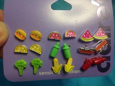 Nine Pairs Of Claires Picnic Themed Earrings Burgers Watermelon Hotdog Corn