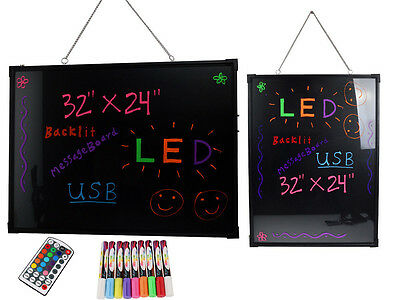 32x24 Flashing LED Writing Board Menu Sign Fluorescent Message Erasable W/Remote