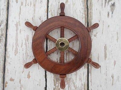 "6"" Wood / Brass Ship Wheel ~ Wooden Ships Wheel ~ Nautical Maritime Decor"