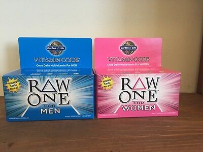 Garden of Life Raw One For Men & Raw One For Women 75 Cap...