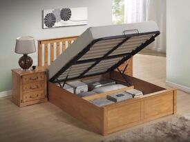 Solid Pine Wood --- Brand New Malmo Oak Finish Wooden Ottoman Storage Bed Double/ King Size