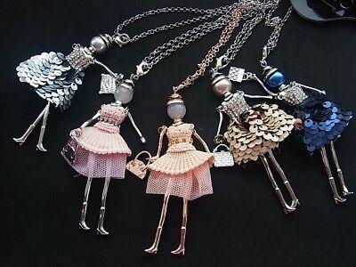Kette Halskette Lange Kette mit Anhänger Puppe Dame Frau Kleid Tasche