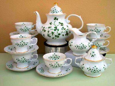 Irish Shamrock or Music Notes Pattern Adult Size 15pc Tea Set Made In USA!
