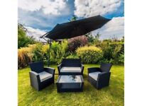 **FREE & FAST UK DELIVERY** Garden 4-Piece Curved Black Rattan Sofa Chairs & Table Set