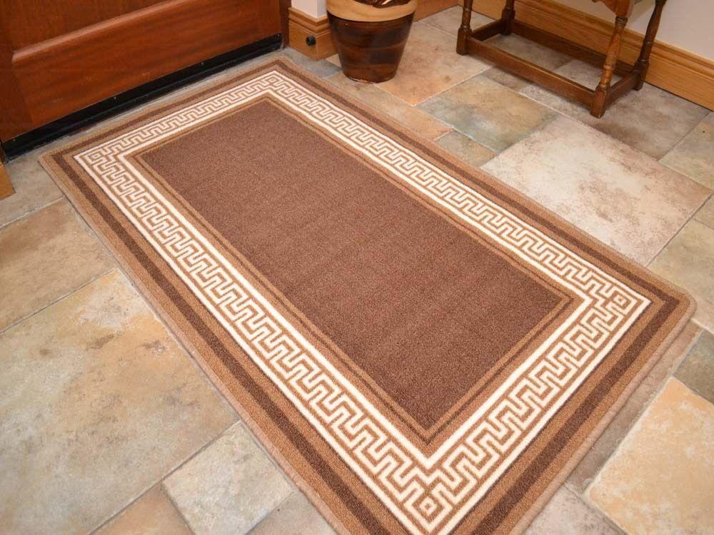 new small large brown greek key long runner washable floor. Black Bedroom Furniture Sets. Home Design Ideas