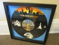 Hand made lazer cut LP record Cincinnati Skyline clock